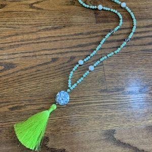 Jewelry - Mint & Neon Green Silk Tassel Necklace, NWT